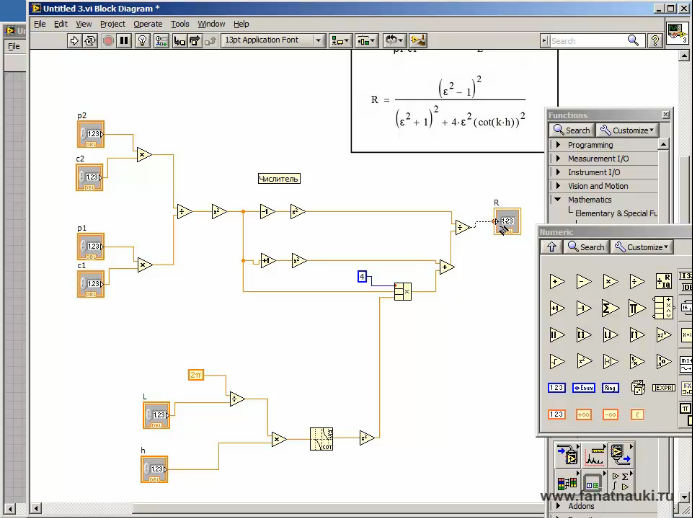 LabVIEW nabor formul